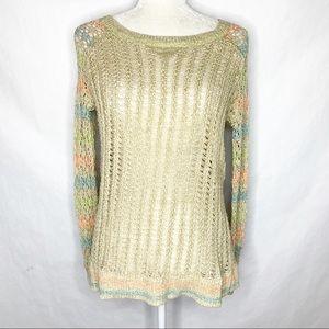 Free People Open Knit Sweater Striped Sleeves